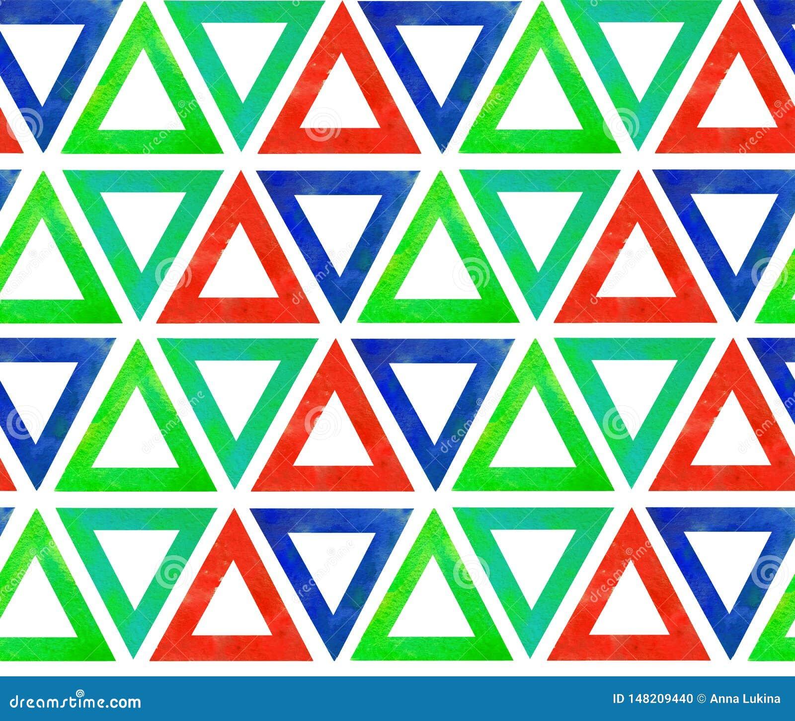 Abstract naadloos patroon van het blauwgroene rood van waterverfdriehoeken Op een witte ge?soleerde achtergrond