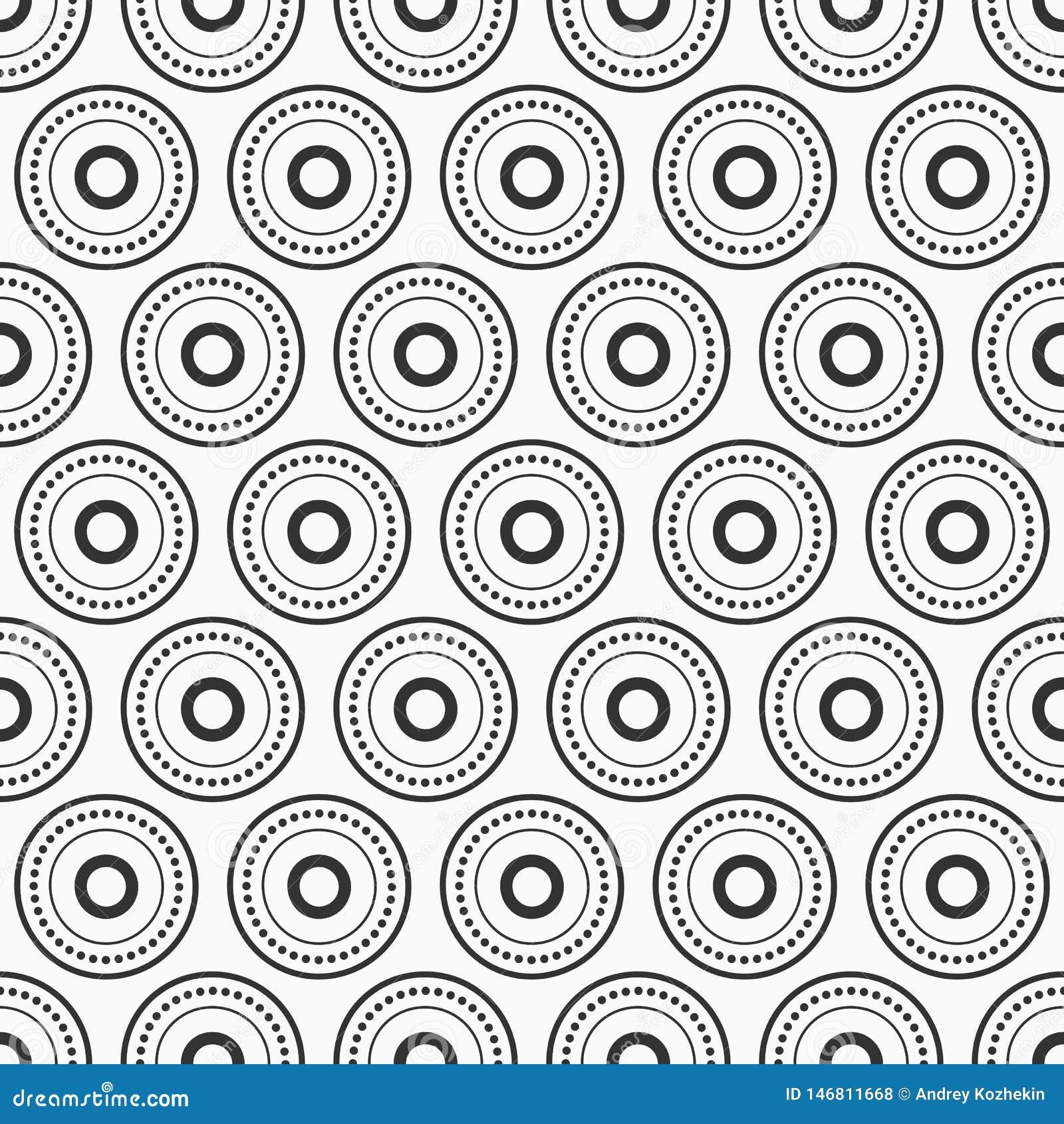Abstract naadloos vectorpatroon met zwarte gestippelde die cirkels, ringen op witte achtergrond worden geïsoleerd