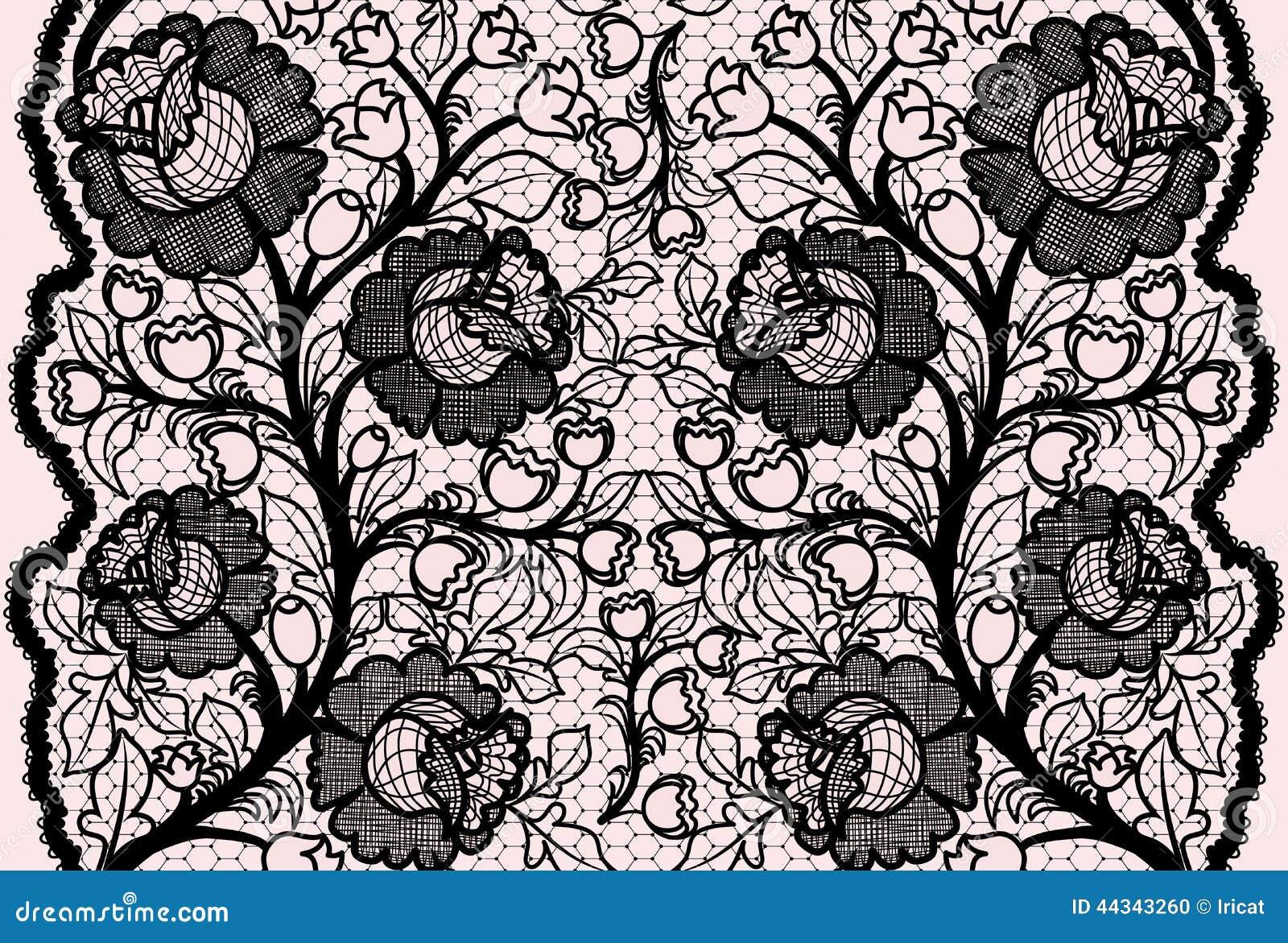 Abstract naadloos zwart kantlint met vrouwelijk bloemenpatroon
