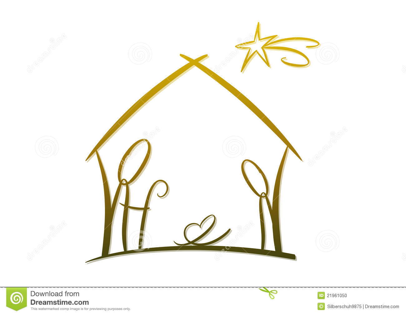Simple modern drawing of nativity scene with family manger and stars