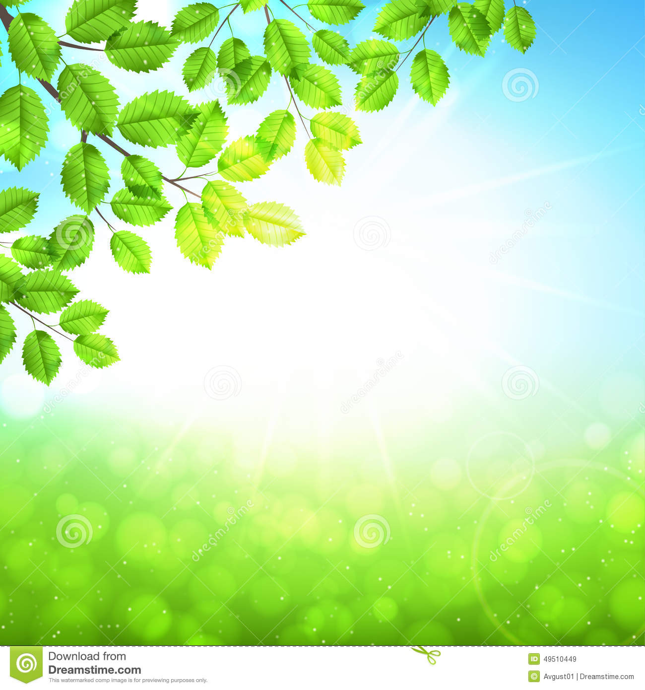 Abstract Nature Background With Leaves And Sun Stock Vector - Image ...