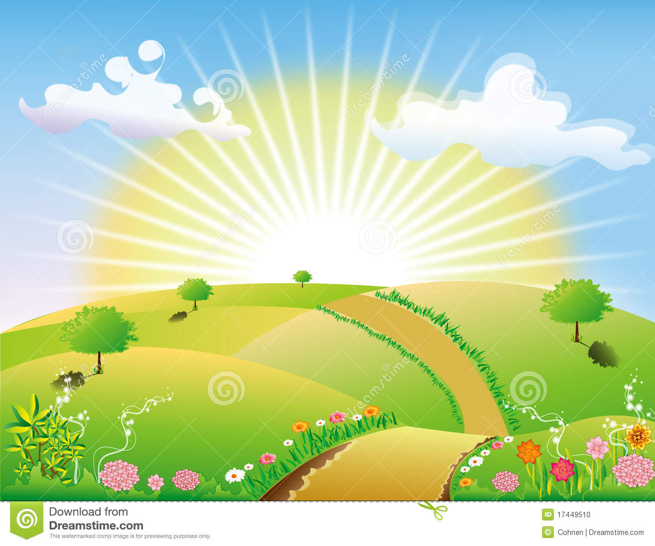 Nature Clipart Images Abstract nature landscape sun