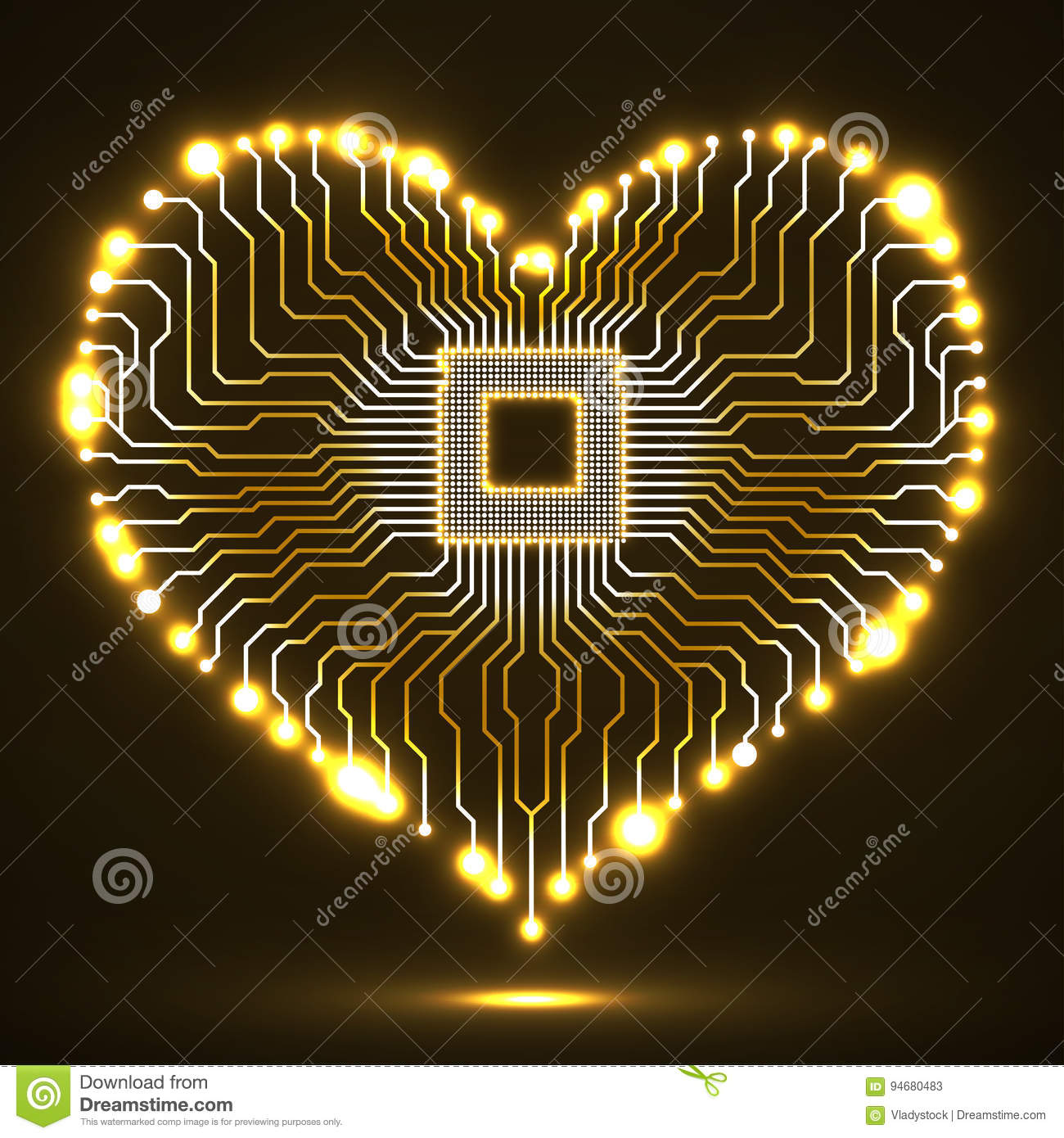 Abstract Neon Electronic Circuit Board In Shape Of Heart Stock Symbols Photo Download Vector Illustration Electronical
