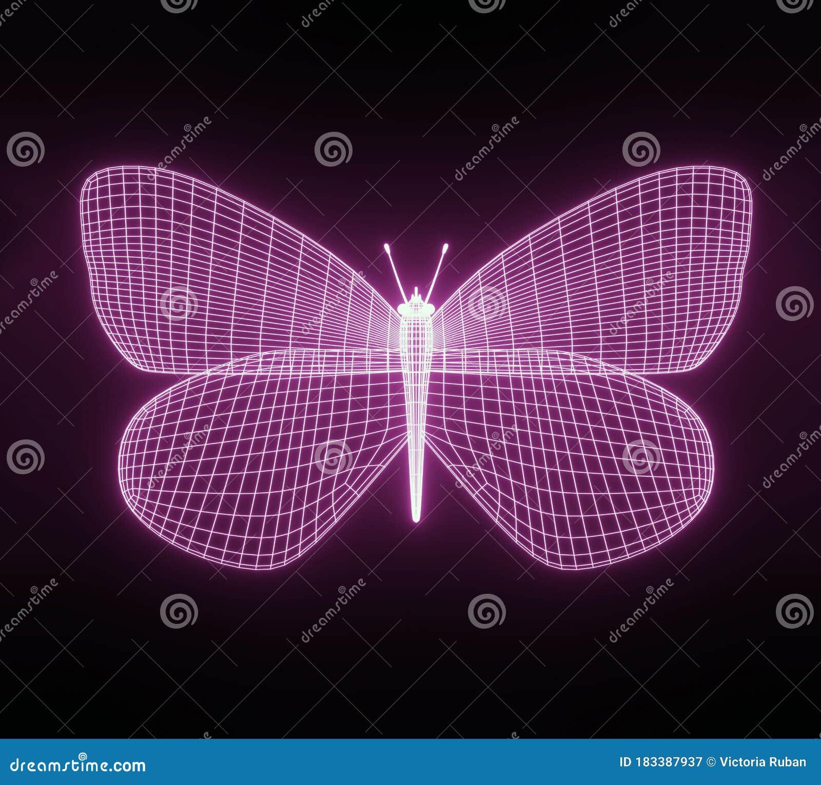 Abstract Neon Polygonal Geometric ...