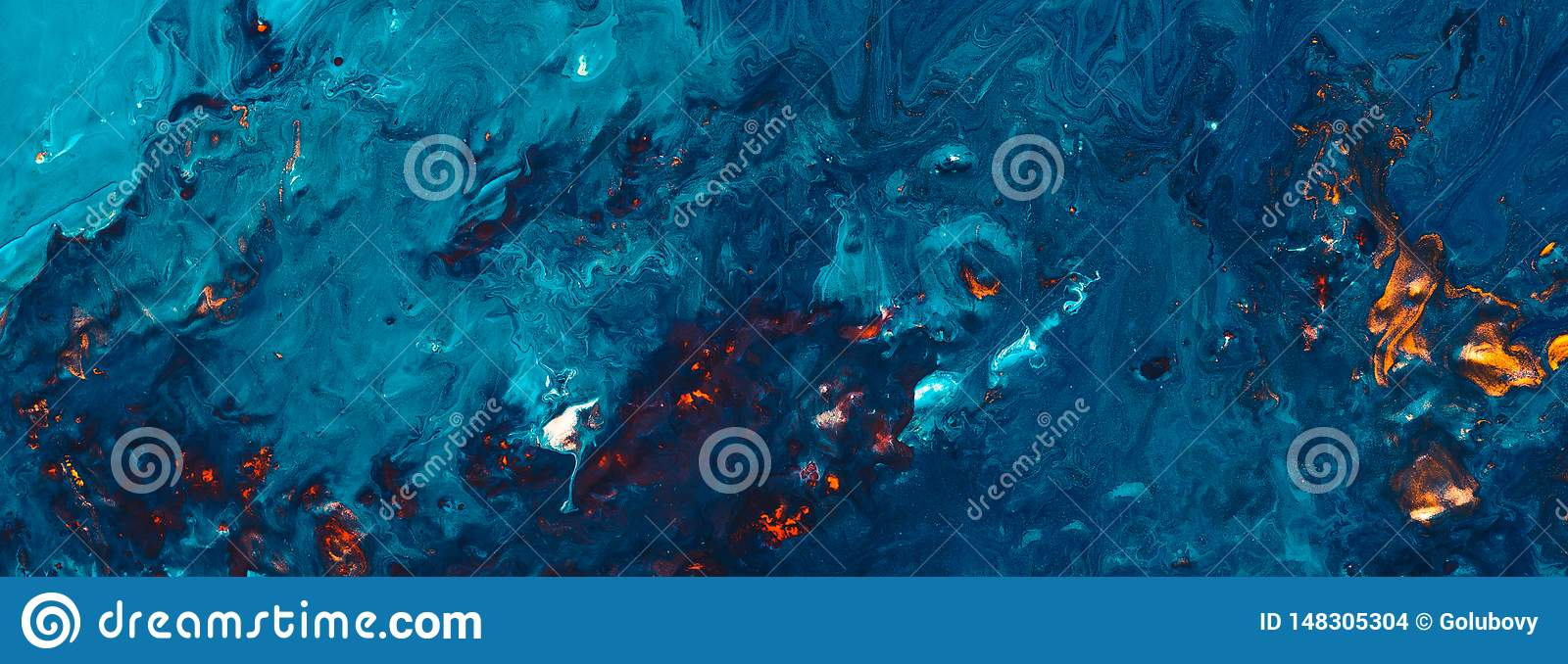 Abstract Night Forest Fire Blue Paint Background Stock Photo