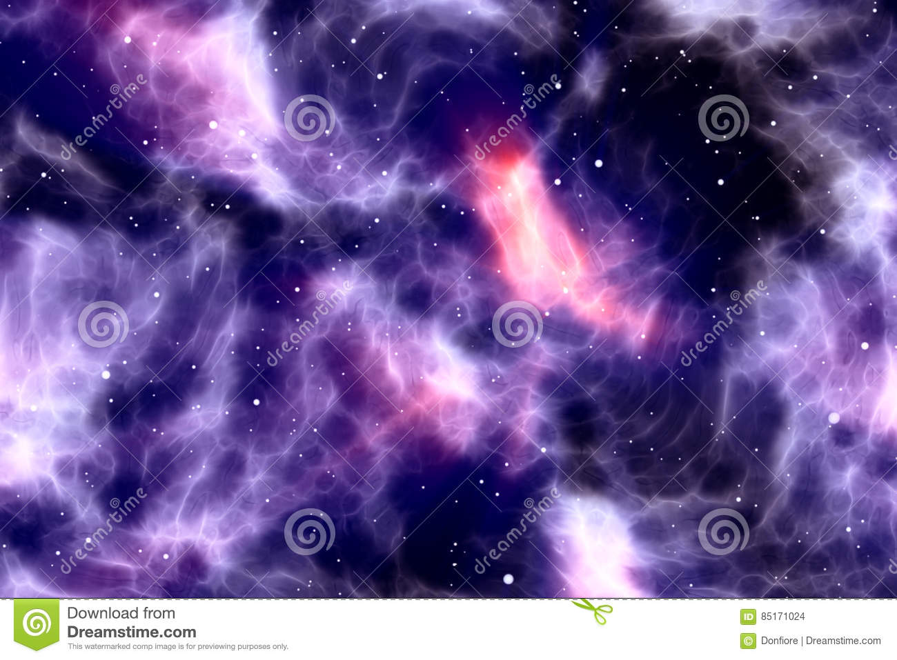 abstract night sky with glitter sparkle stars and nebula, colorful