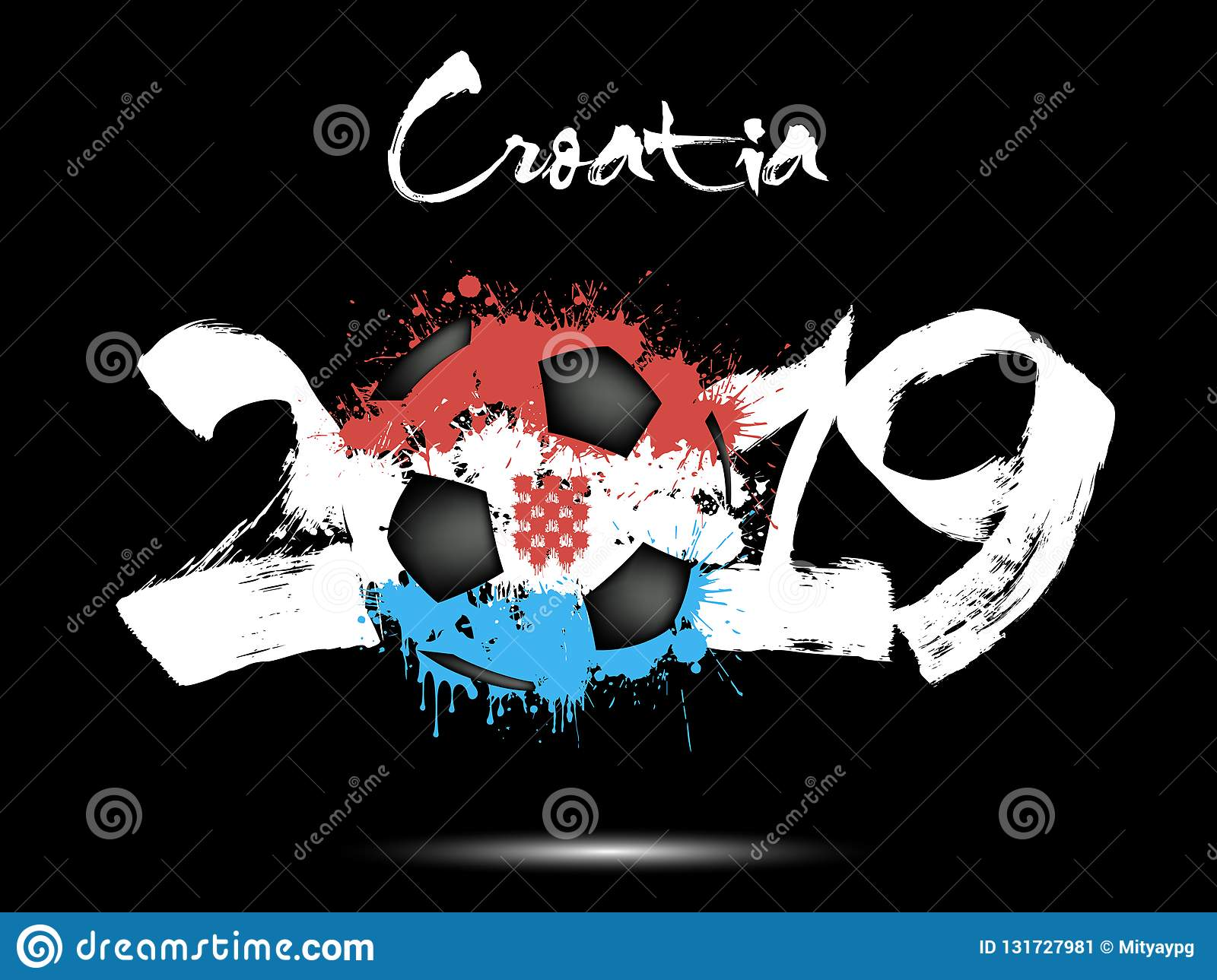 2019 new year and a soccer ball as flag croatia stock vector illustration of happy digit - New years colors 2019 ...