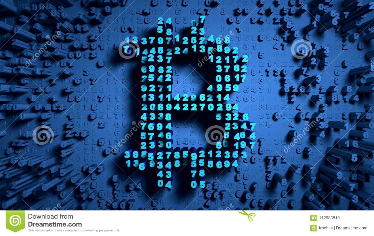 Abstract numbers Random motion in the form of coins bitcoin