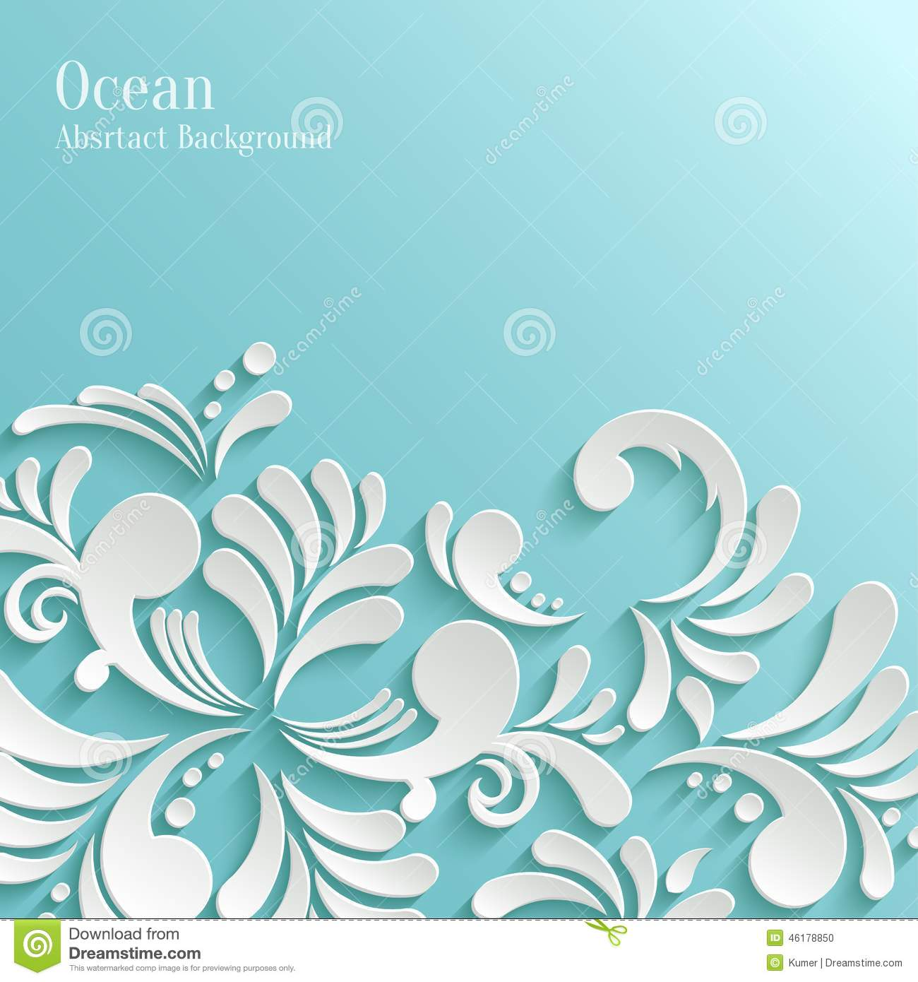Abstract Ocean Background With 3d Floral Pattern Stock ...