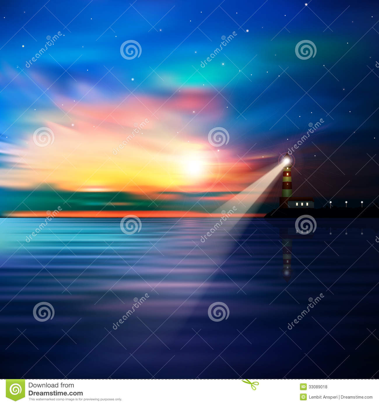 Abstract Ocean Background With Lighthouse Royalty Free
