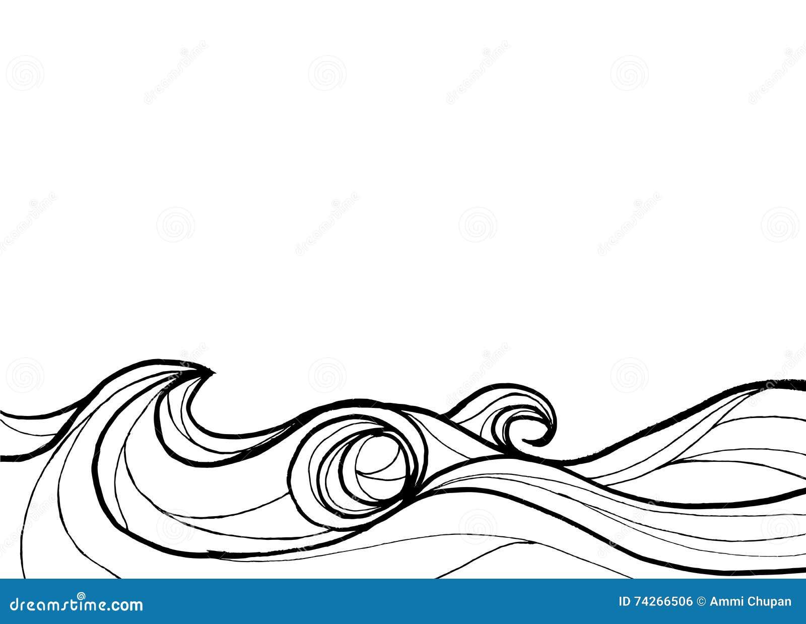 Ocean Clip Art Black and White
