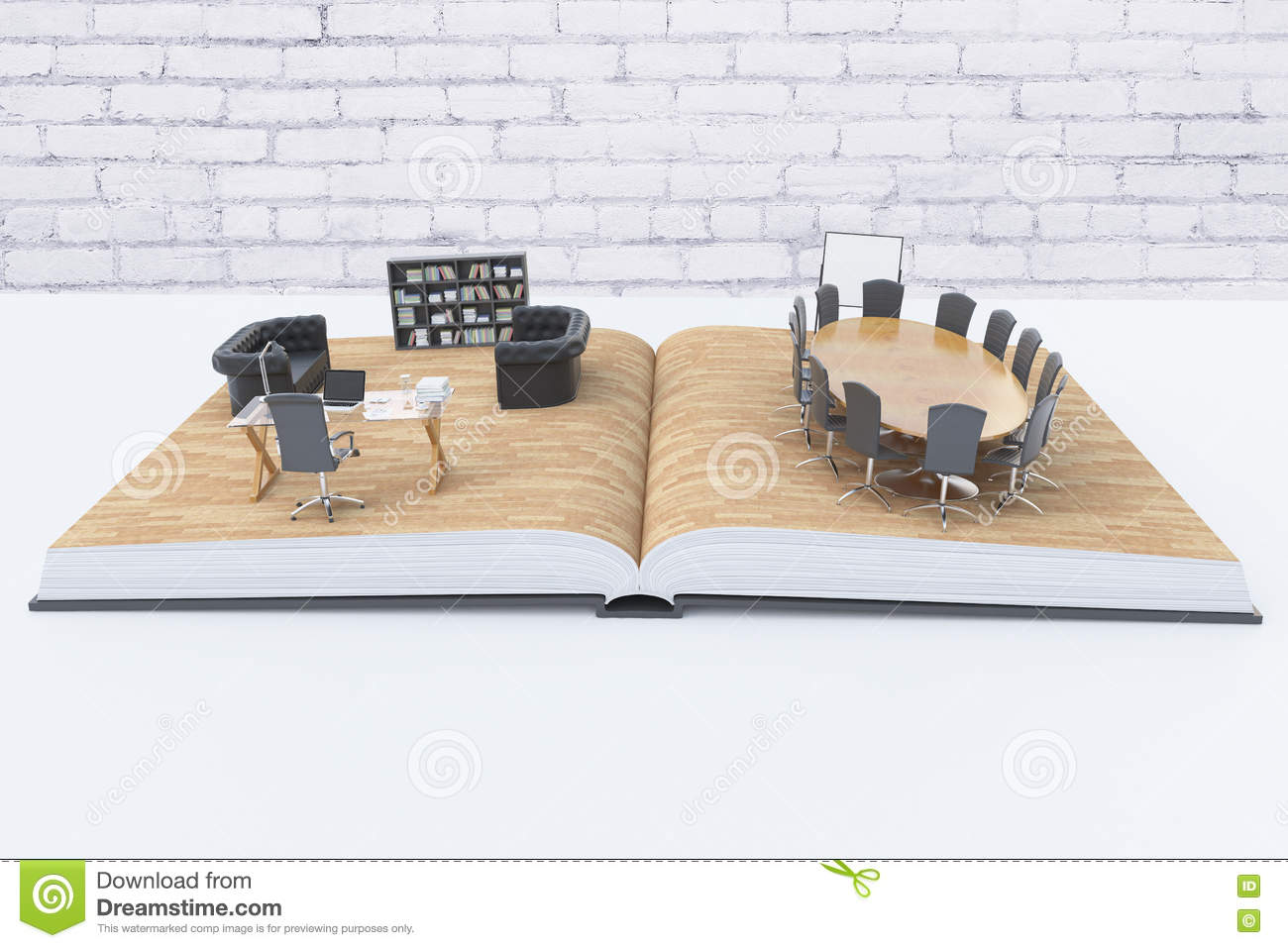 Sensational Abstract Office Interior On Book Stock Illustration Download Free Architecture Designs Embacsunscenecom