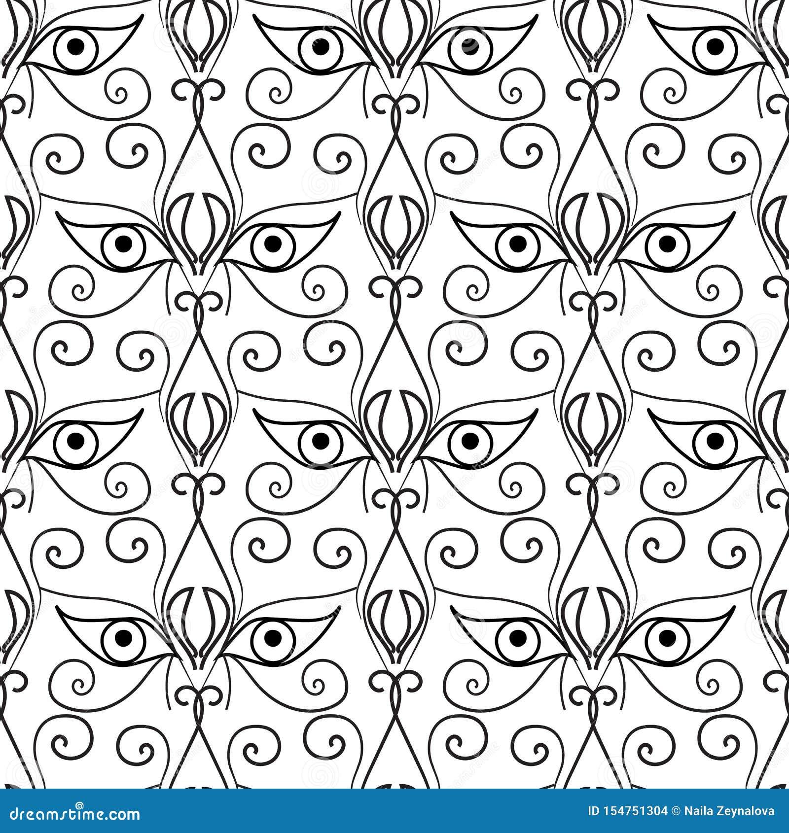 Abstract ogen naadloos patroon Sier etnische achtergrond Stammen decoratief herhaalt achtergrond Zwart-witte getrokken hand