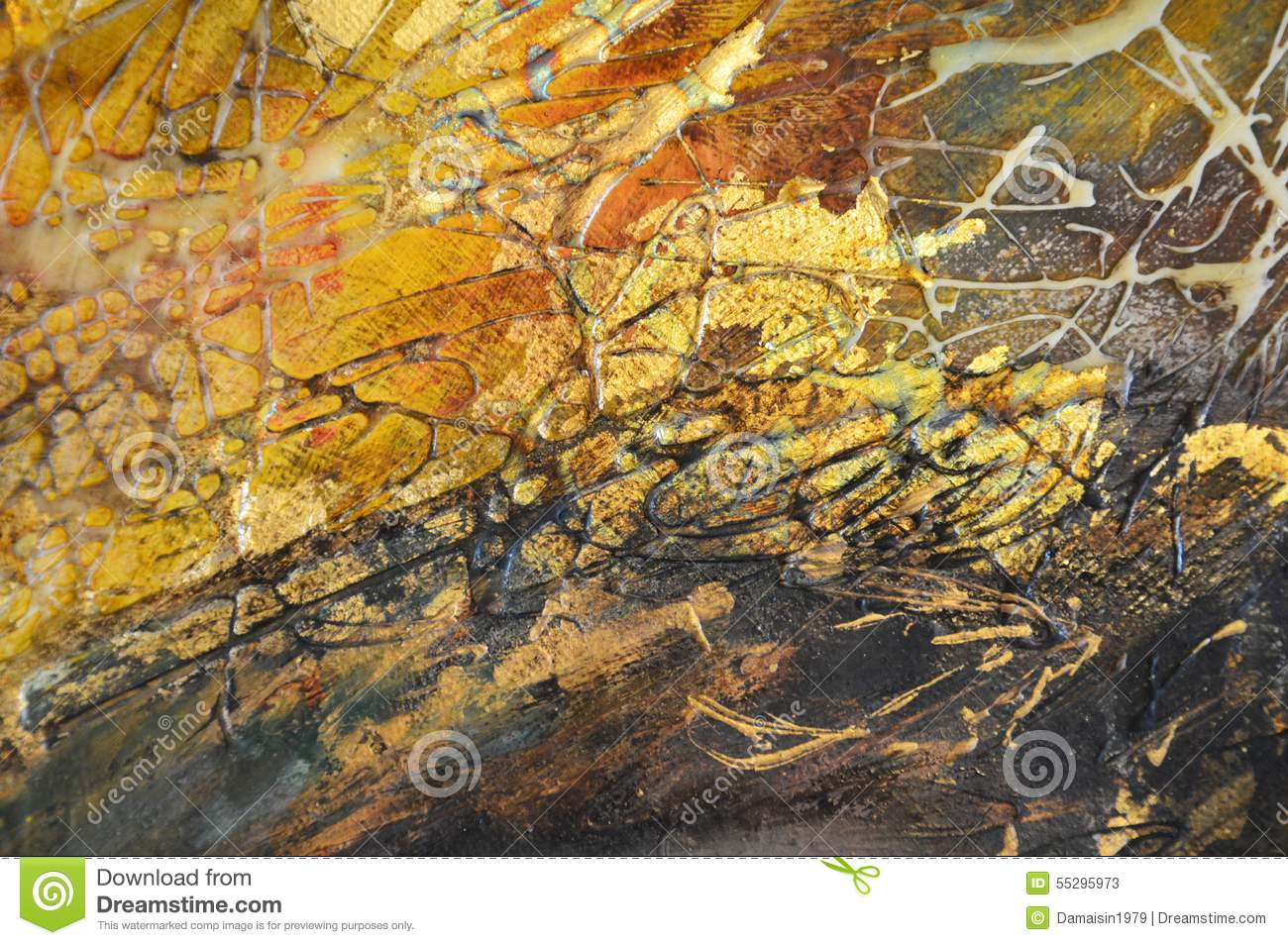Black Grunge Metal Background Abstract Oil Gold Pain...
