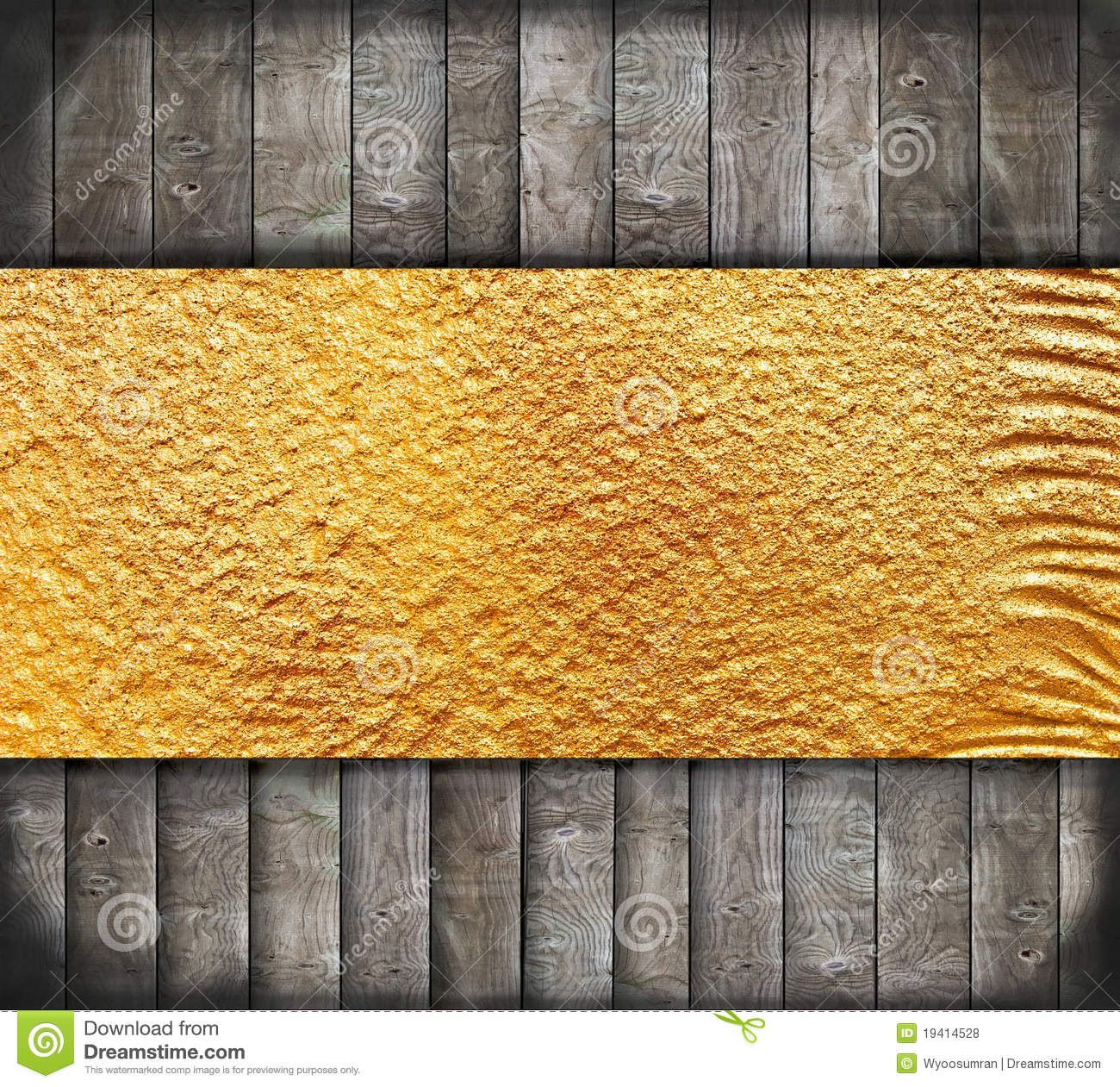 Abstract Old Wood With Golden Banner Stock Photo Image