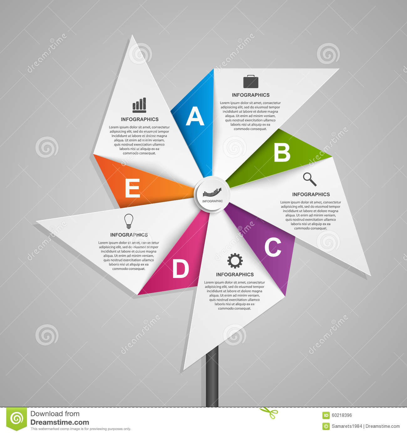 Abstract Options Infographics Design Template In The Shape Of Air ...