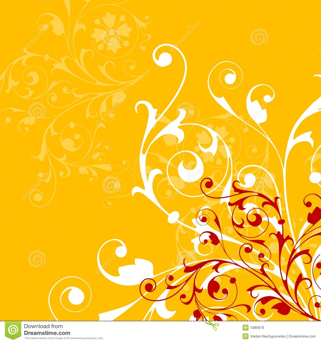 Abstract Flower Background With Decoration Elements For: Abstract Orange Background With Floral Elements Royalty