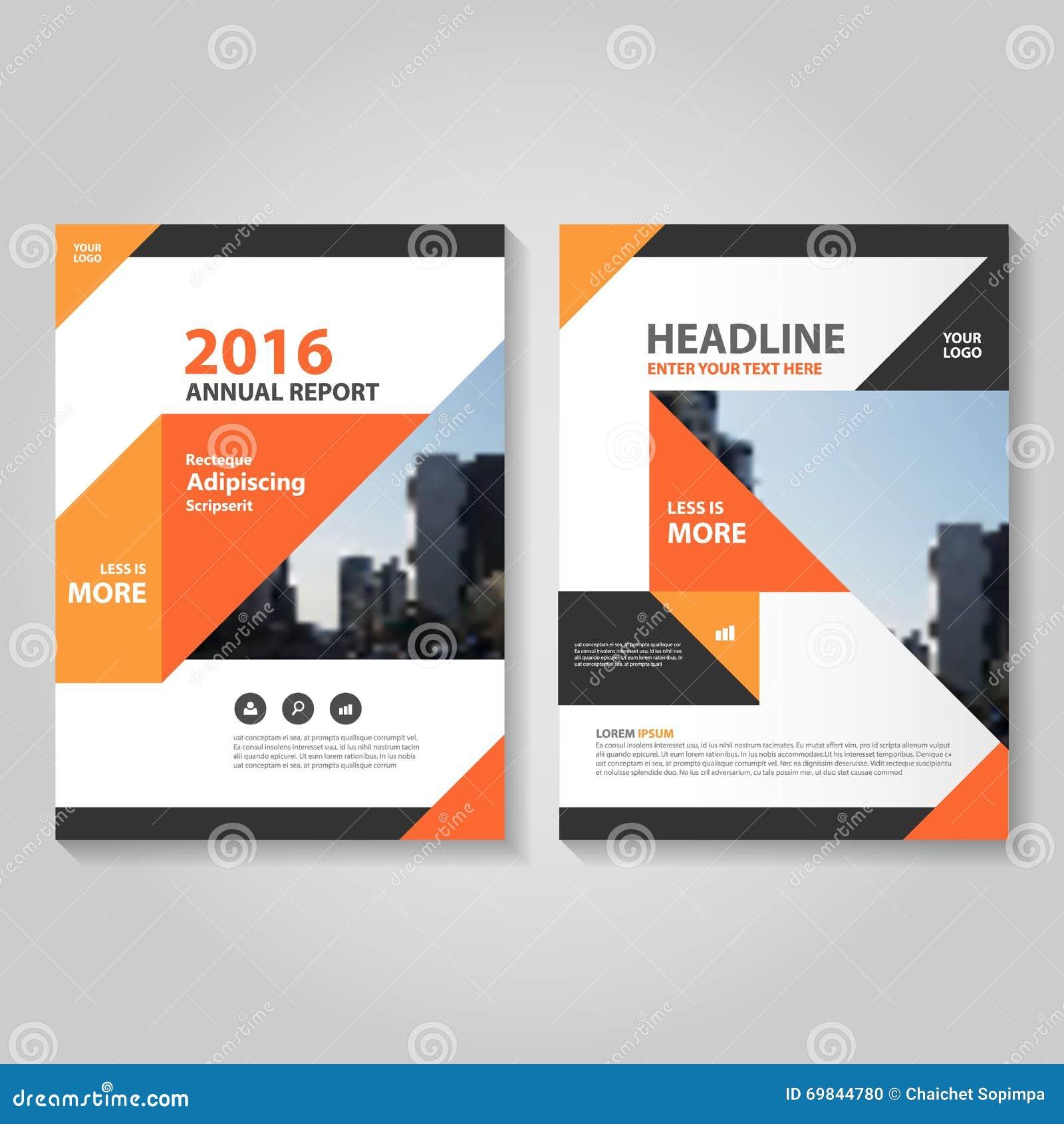 Abstract Orange Black Annual Report Leaflet Brochure Flyer