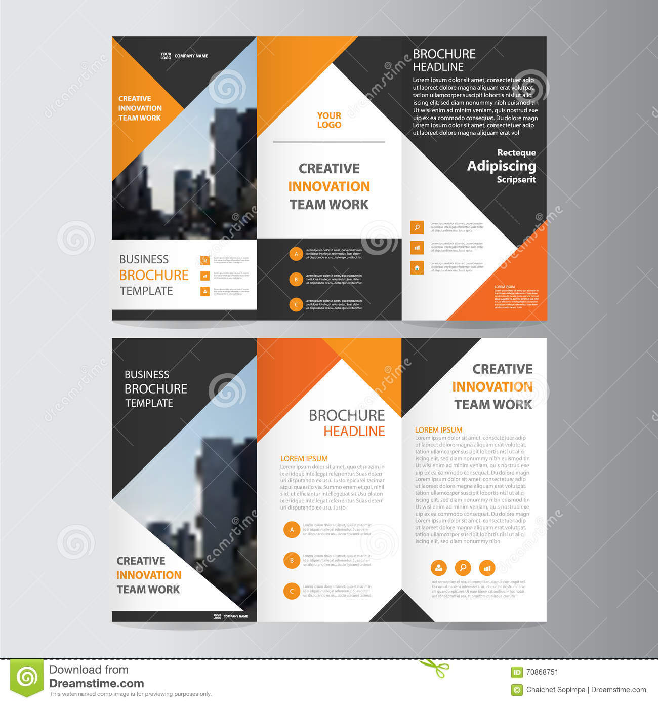 design brochure template - abstract orange black triangle trifold leaflet brochure