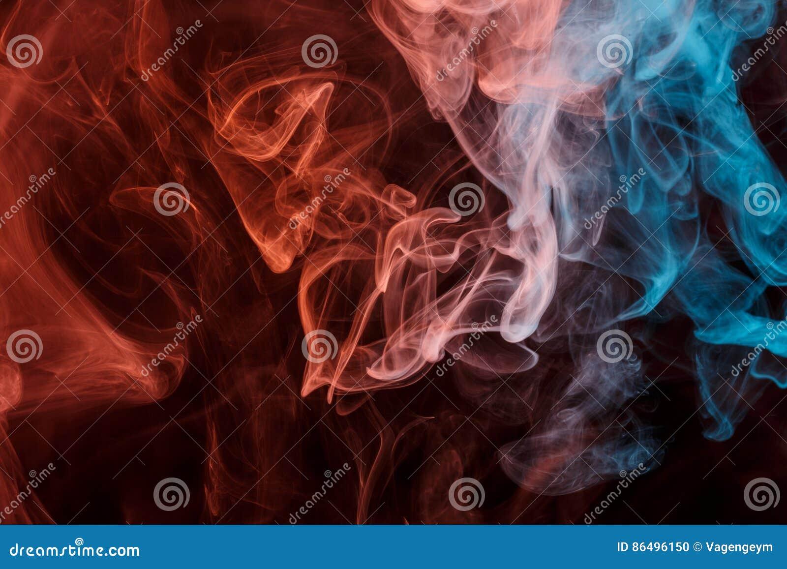 Abstract Orange Blue Smoke Weipa Stock Photo - Image of