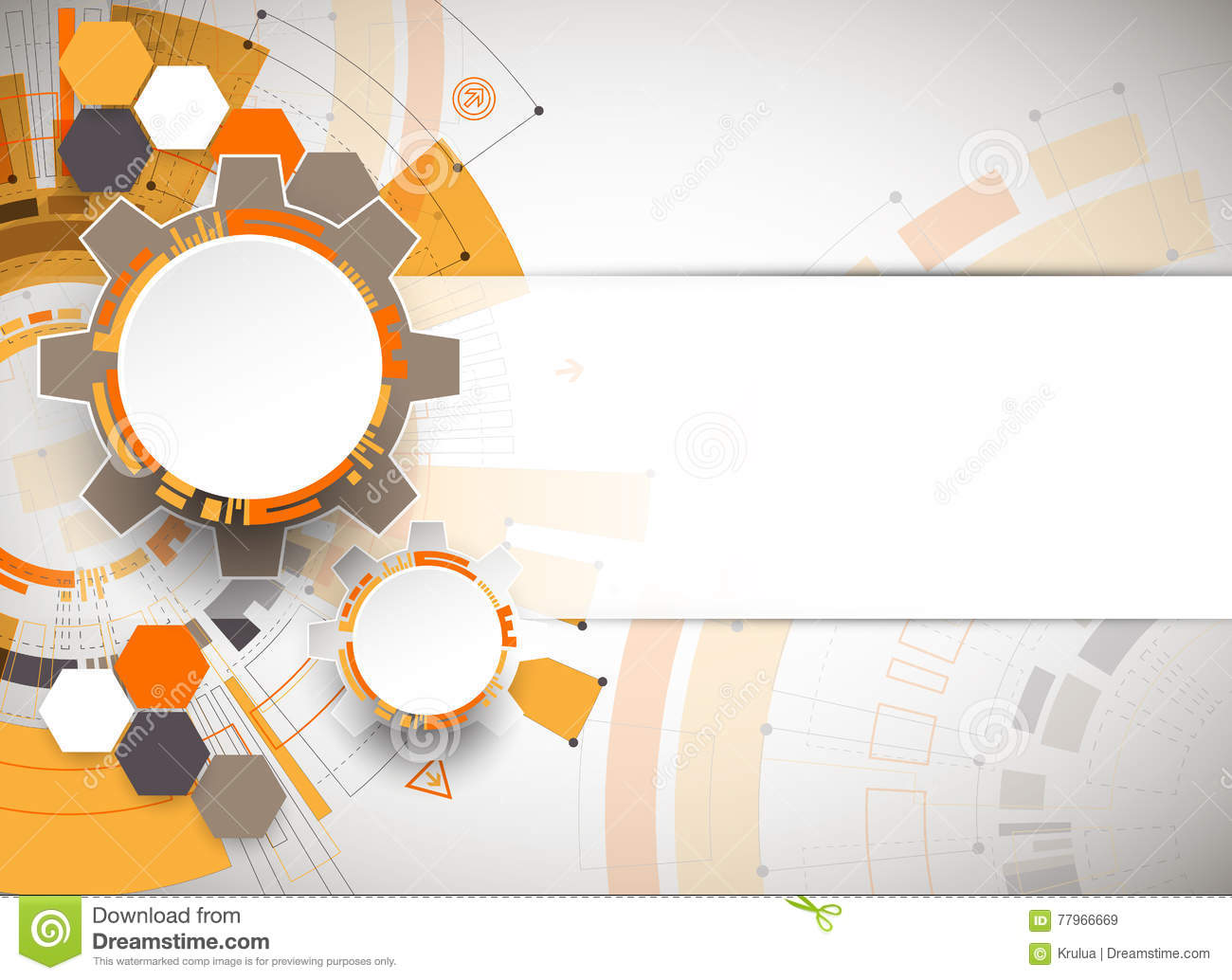 Abstract Orange Colored Technological Background With