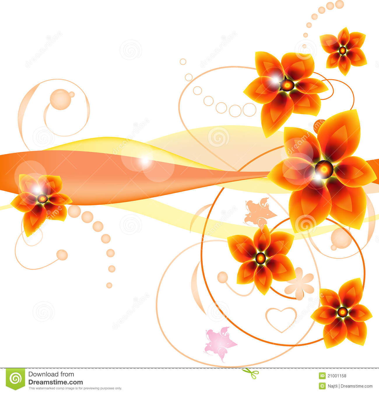 Abstract Orange Flowers Background Royalty Free Stock