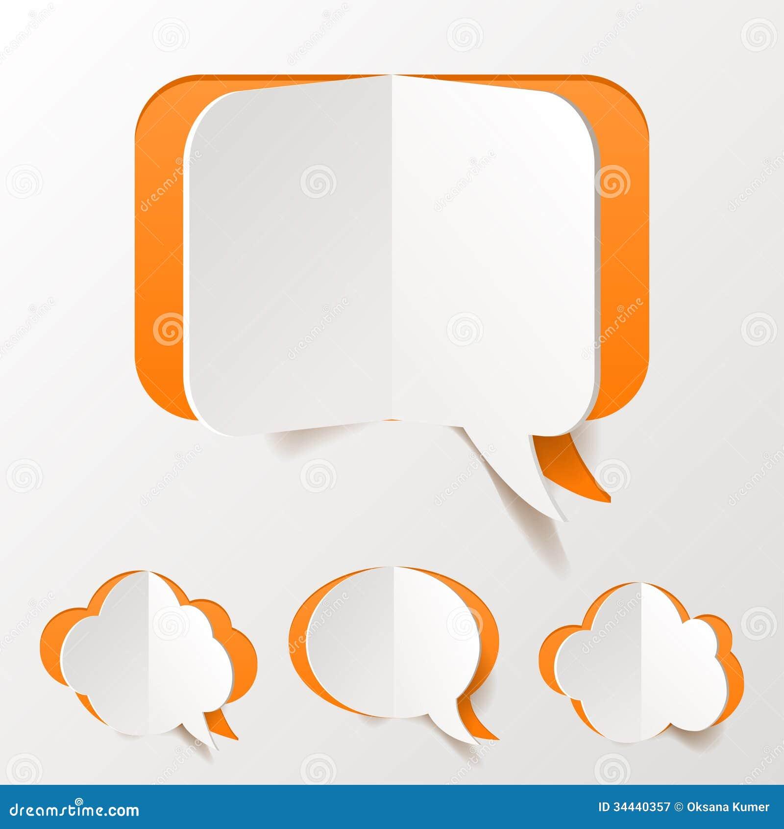 Abstract orange speech bubble set cut of paper royalty - Chat orange ...