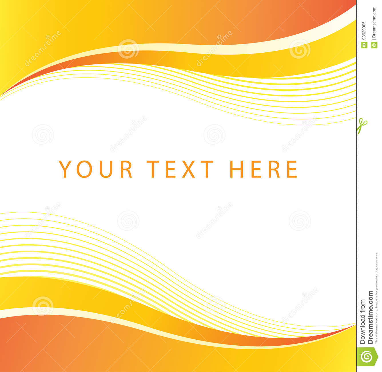 Abstract Orange Wave Border Background Stock Vector