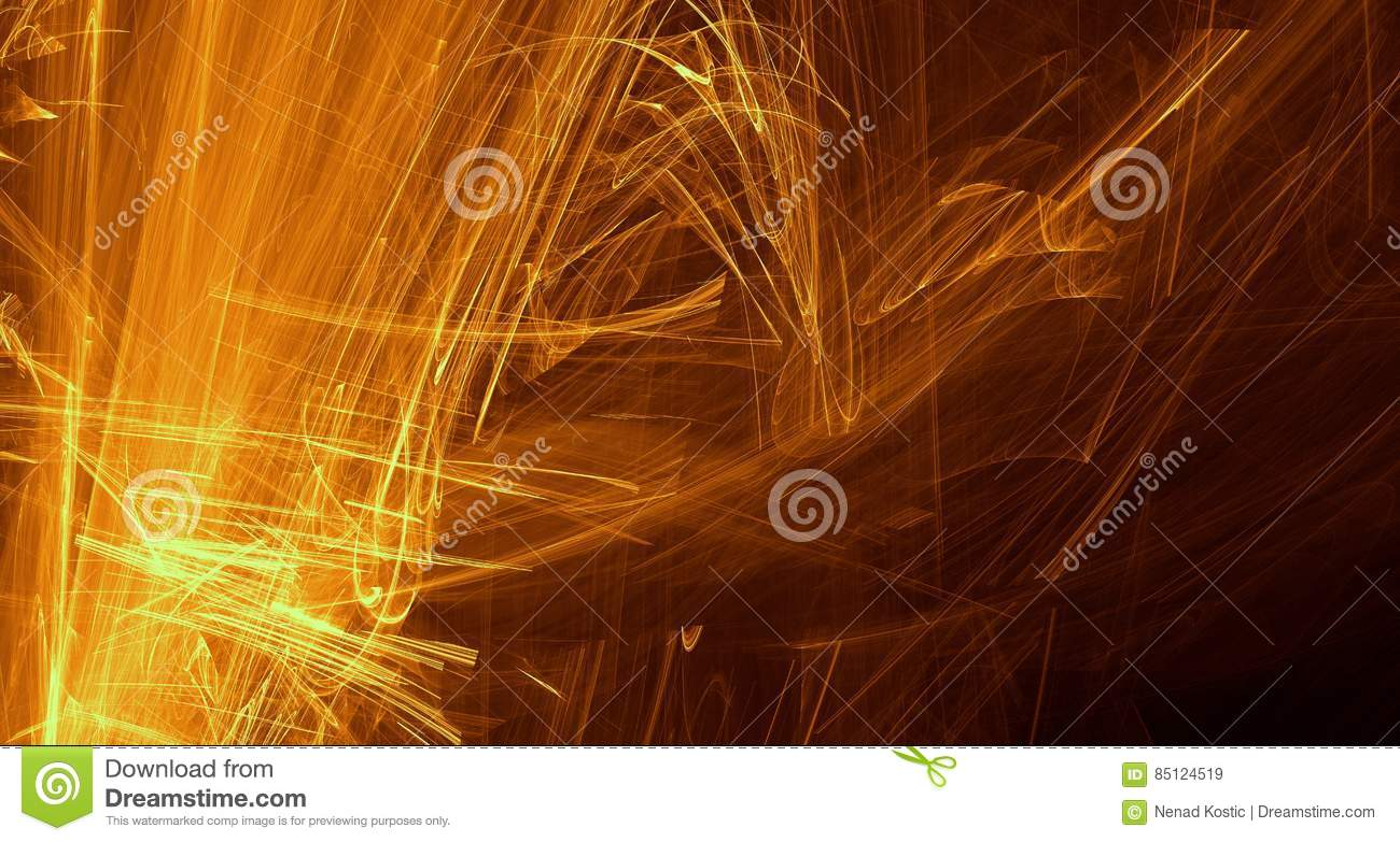 Abstract orange, yellow, gold light glows, beams, shapes on dark background
