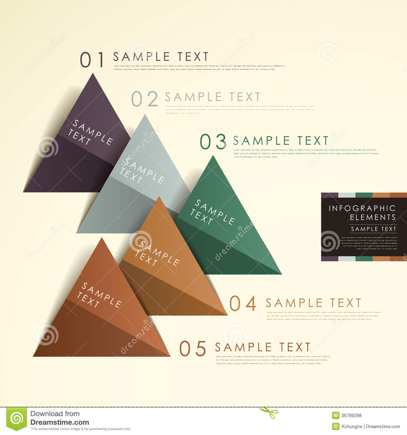 Abstract Origami Pyramid Chart Infographics Stock Vector