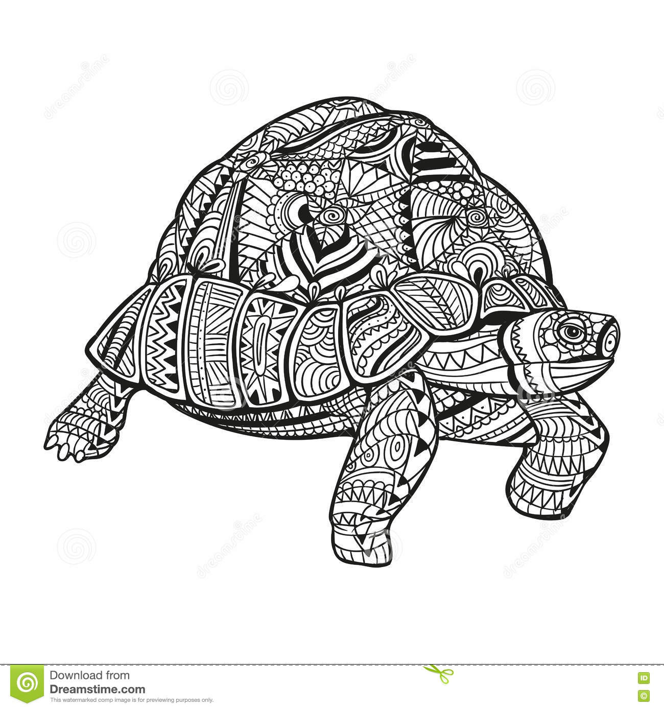 Abstract Turtle Coloring Pages : Abstract ornamental turtle stock illustration