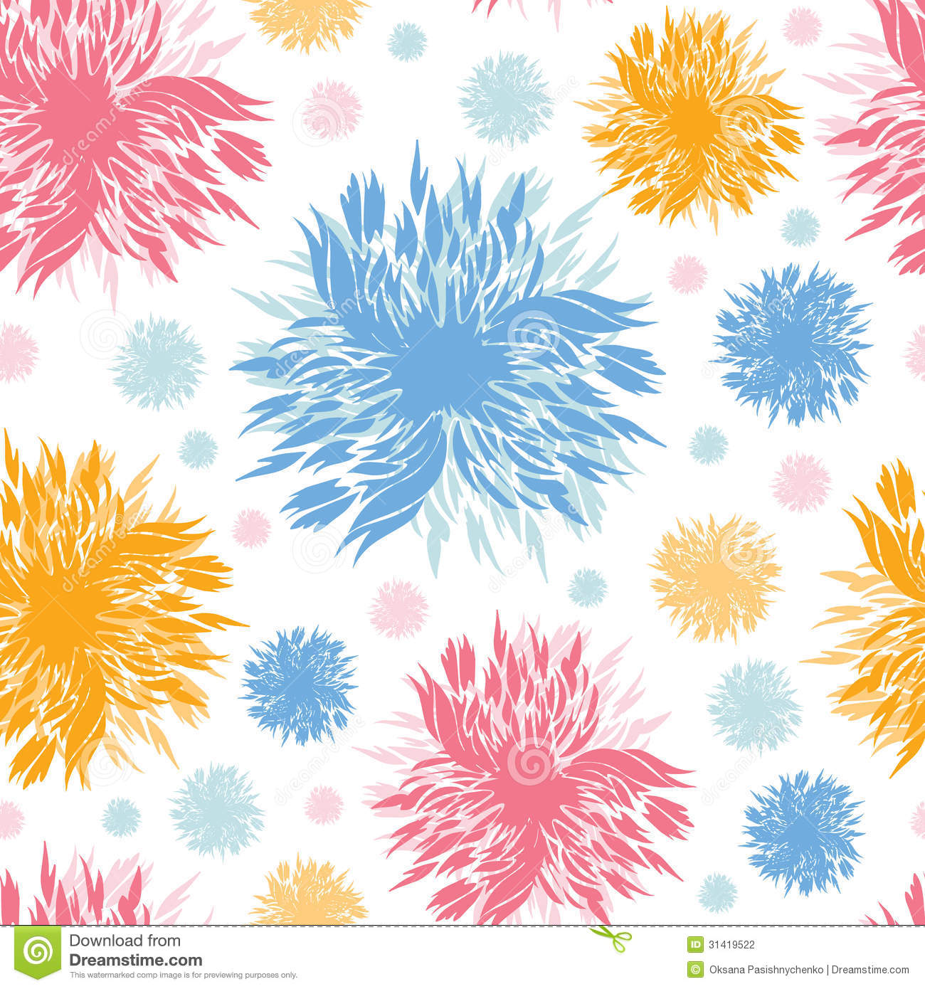Abstract Flower Background With Decoration Elements For: Abstract Paint Flowers Seamless Pattern Background Stock