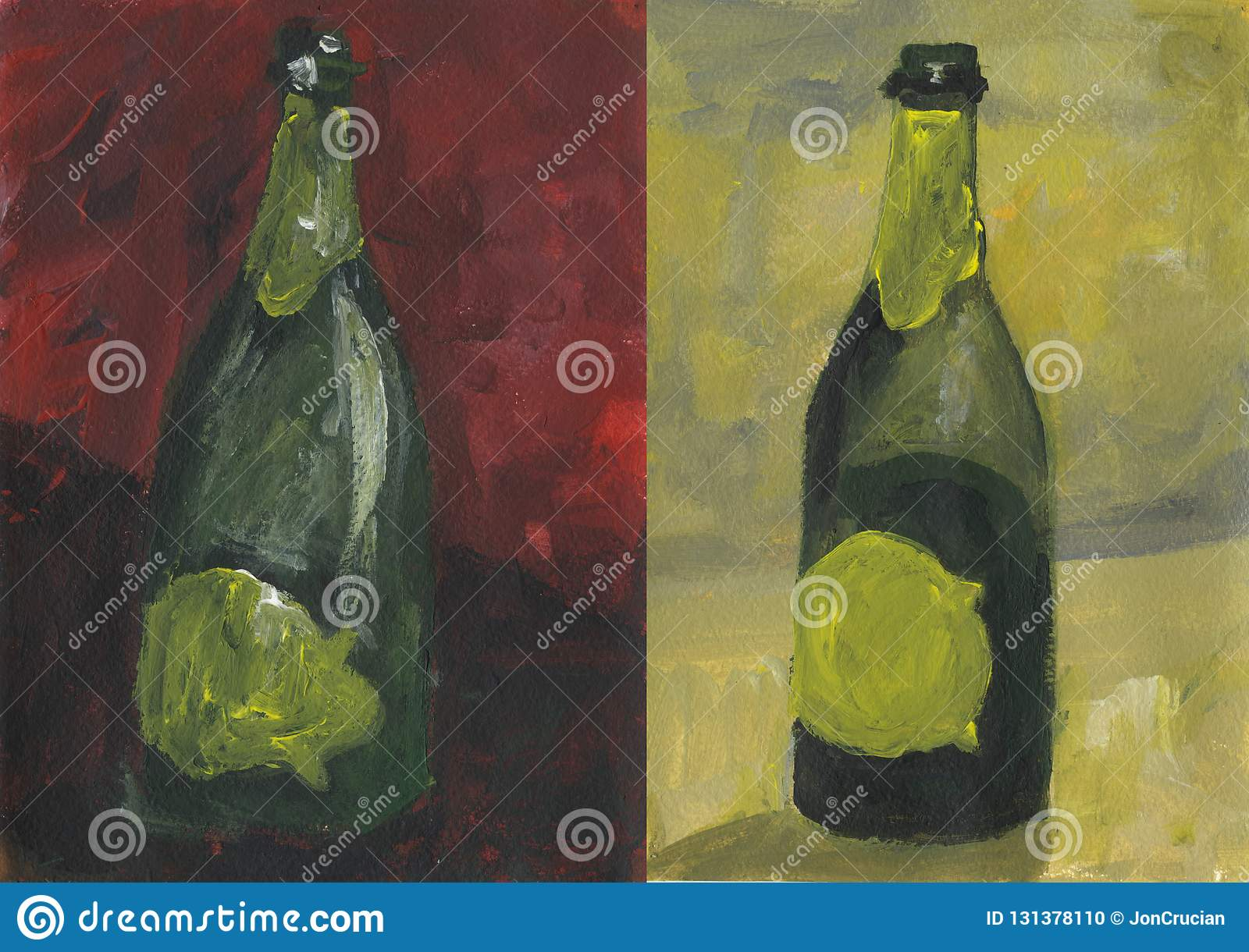 Open Bottle Of Wine On Yellow And Red Background Stock Illustration Illustration Of Design Label 131378110