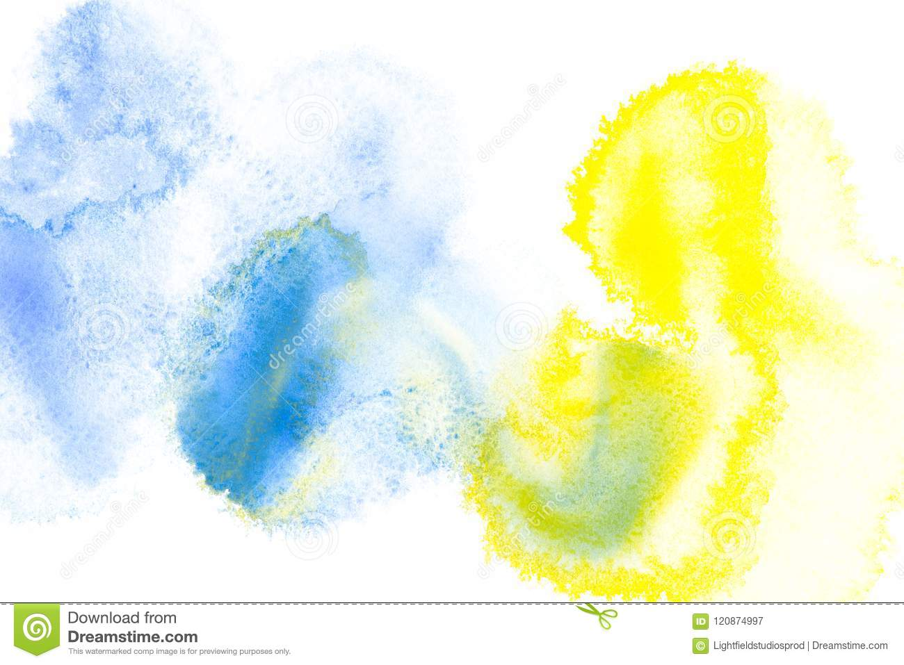 Abstract painting with bright blue and yellow paint blots