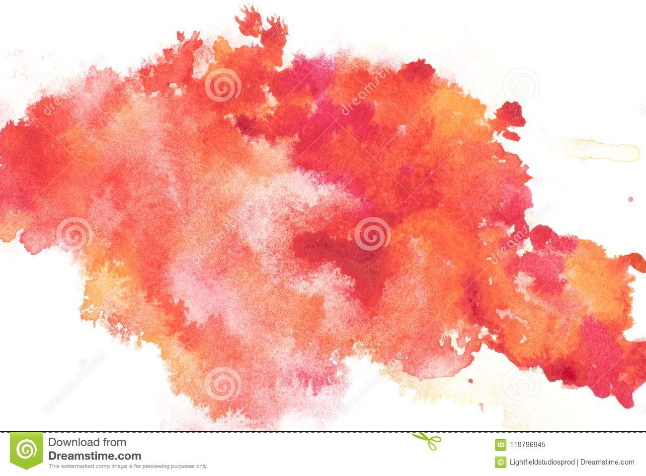 Abstract painting with bright red and orange paint blots