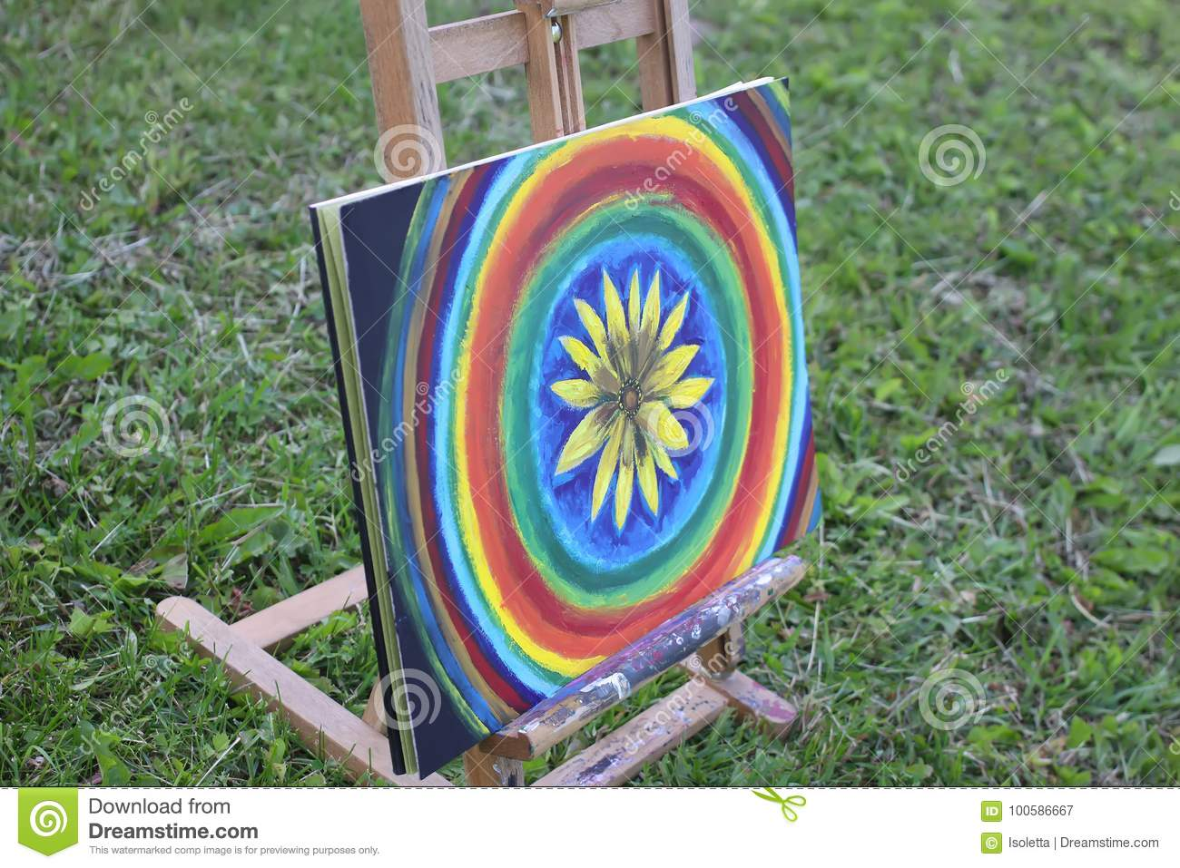 Abstract painting on canvas on easel