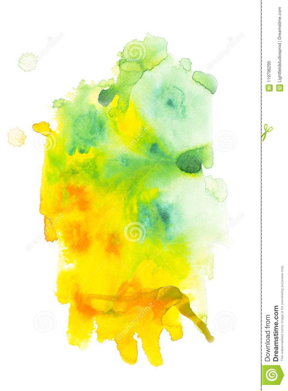 Abstract painting with green and yellow paint blots