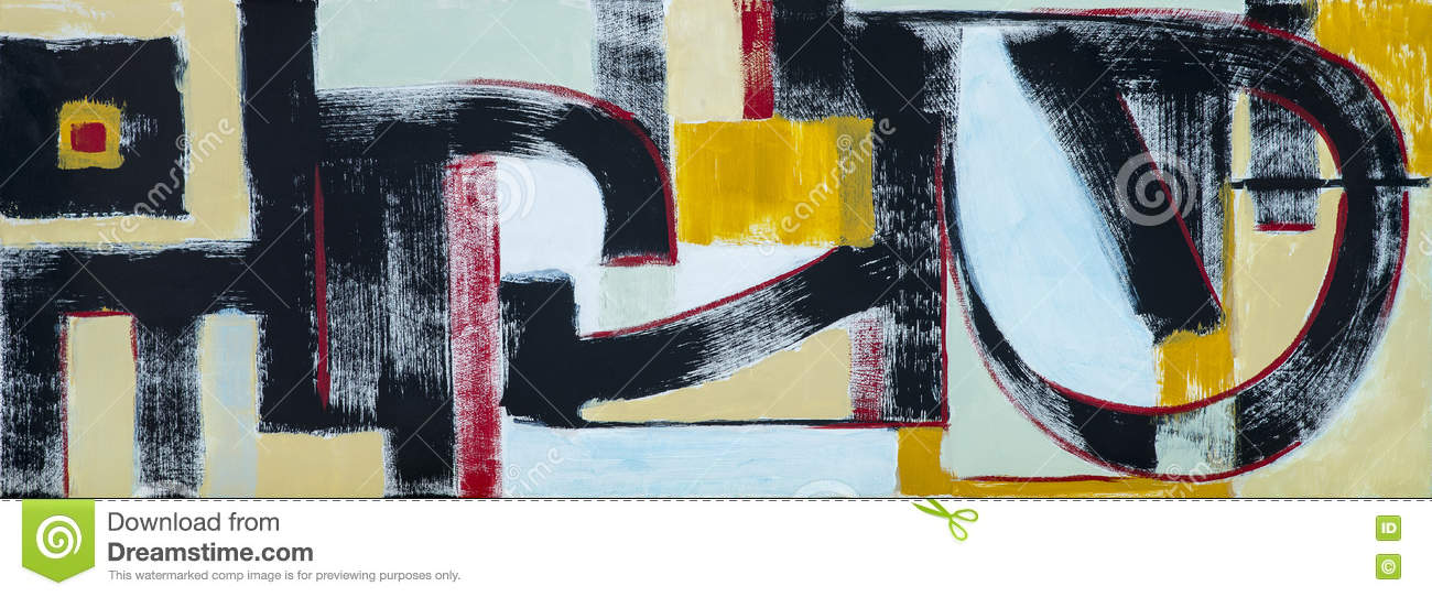 An Abstract Painting Interlocking Shapes Stock