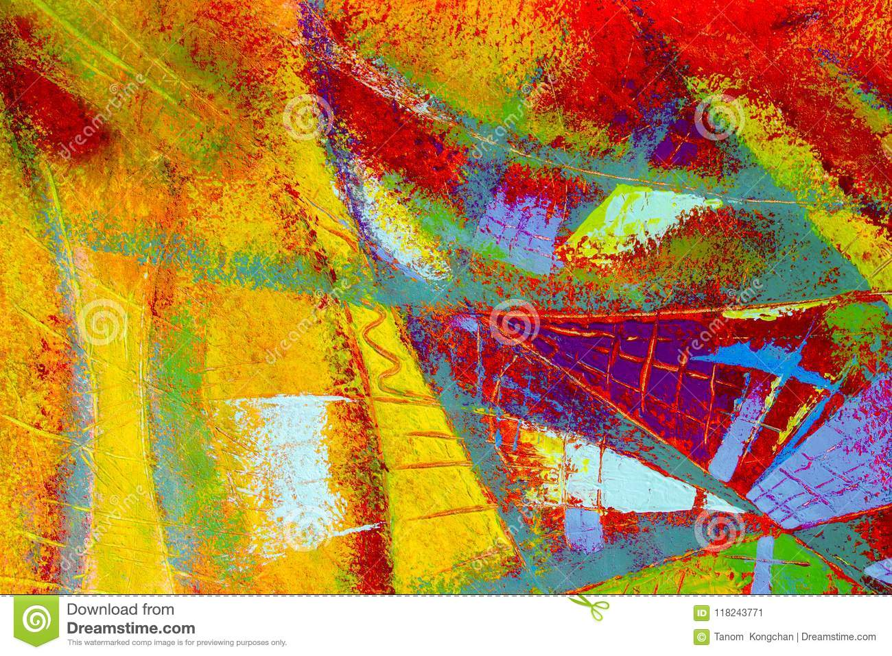 Abstract Painting Oil Color On Canvas  Stock Illustration