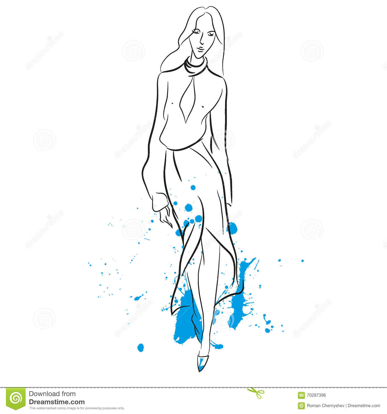 Abstract Painting With Woman In Long Dress Stock Vector - Image 70287396