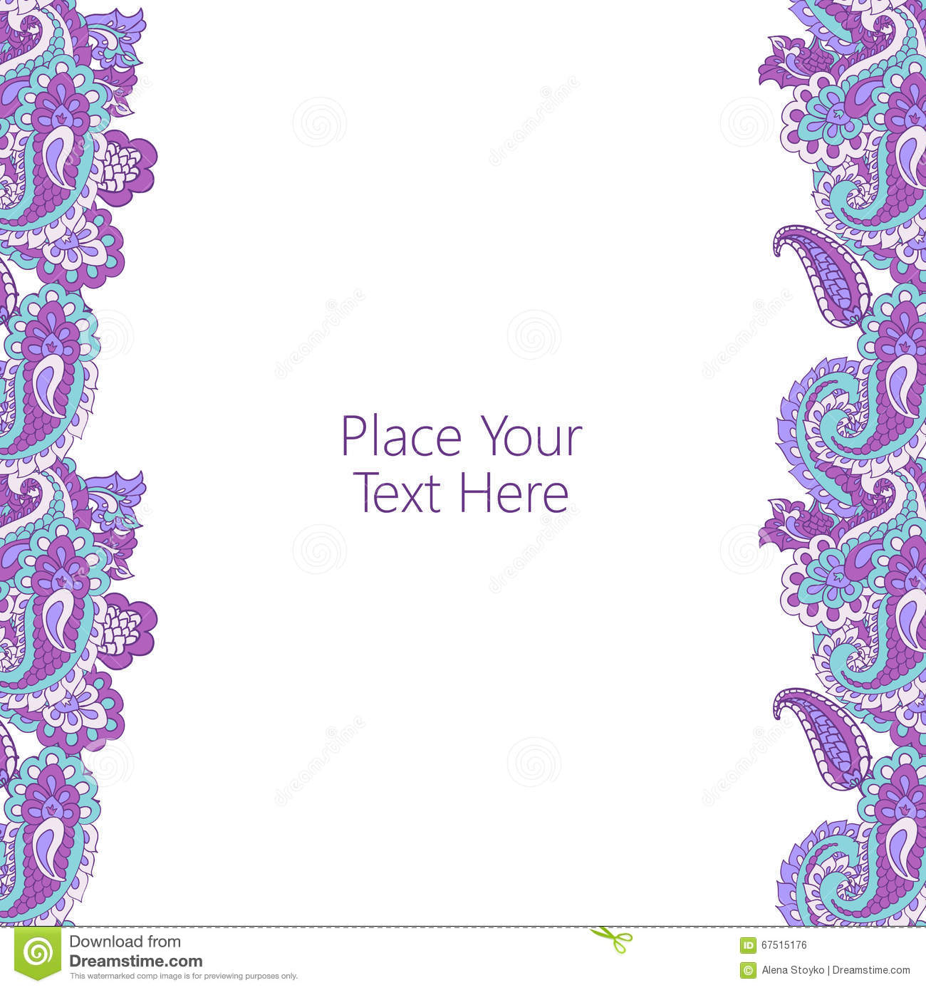 Abstract vertical paisley border with place for your text. Good for ...