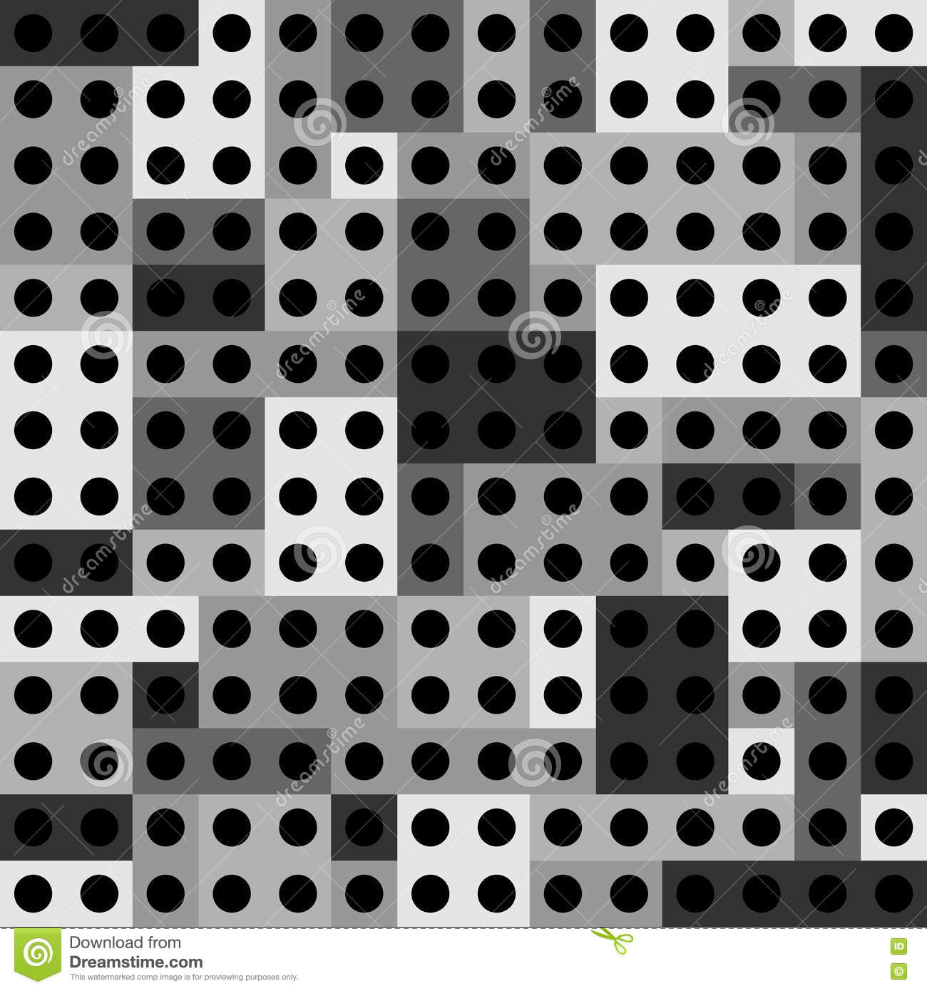 abstract paneling pattern rectangles with black dots stock vector