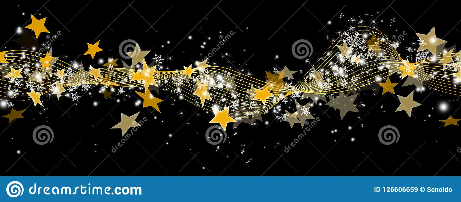 Abstract Panorama Banner with Golden Starlets and Particles