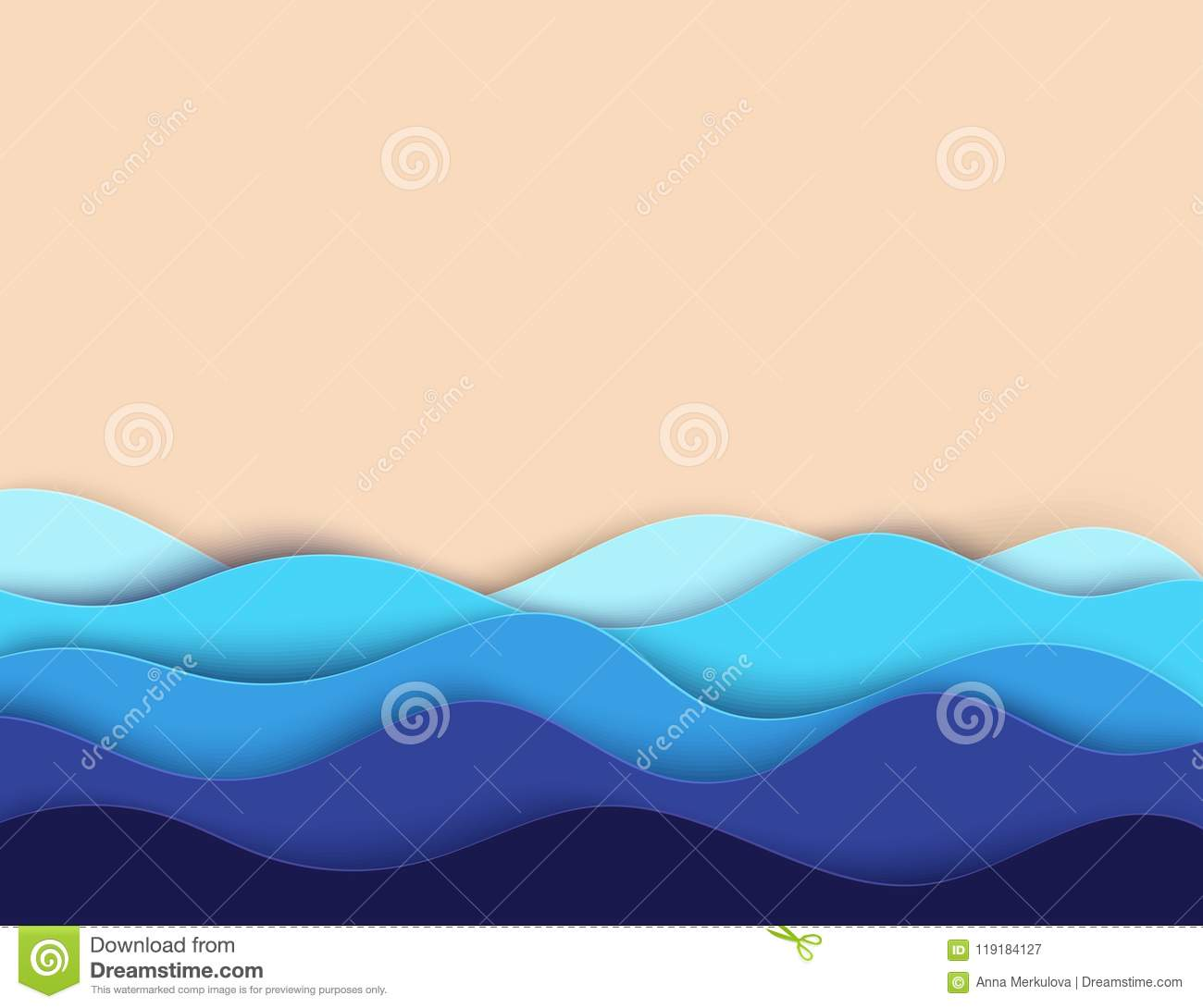 Abstract paper art sea or ocean water waves and beach. Summer
