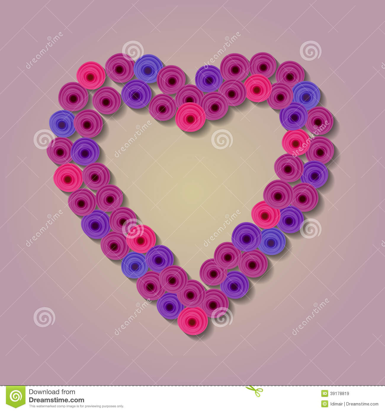 Abstract Paper Flower Heart Quilling Stock Vector Illustration Of