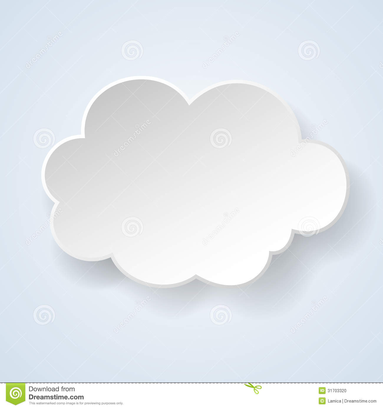Abstract Paper Speech Bubble In The Form Of A Cloud On Light Blu ...