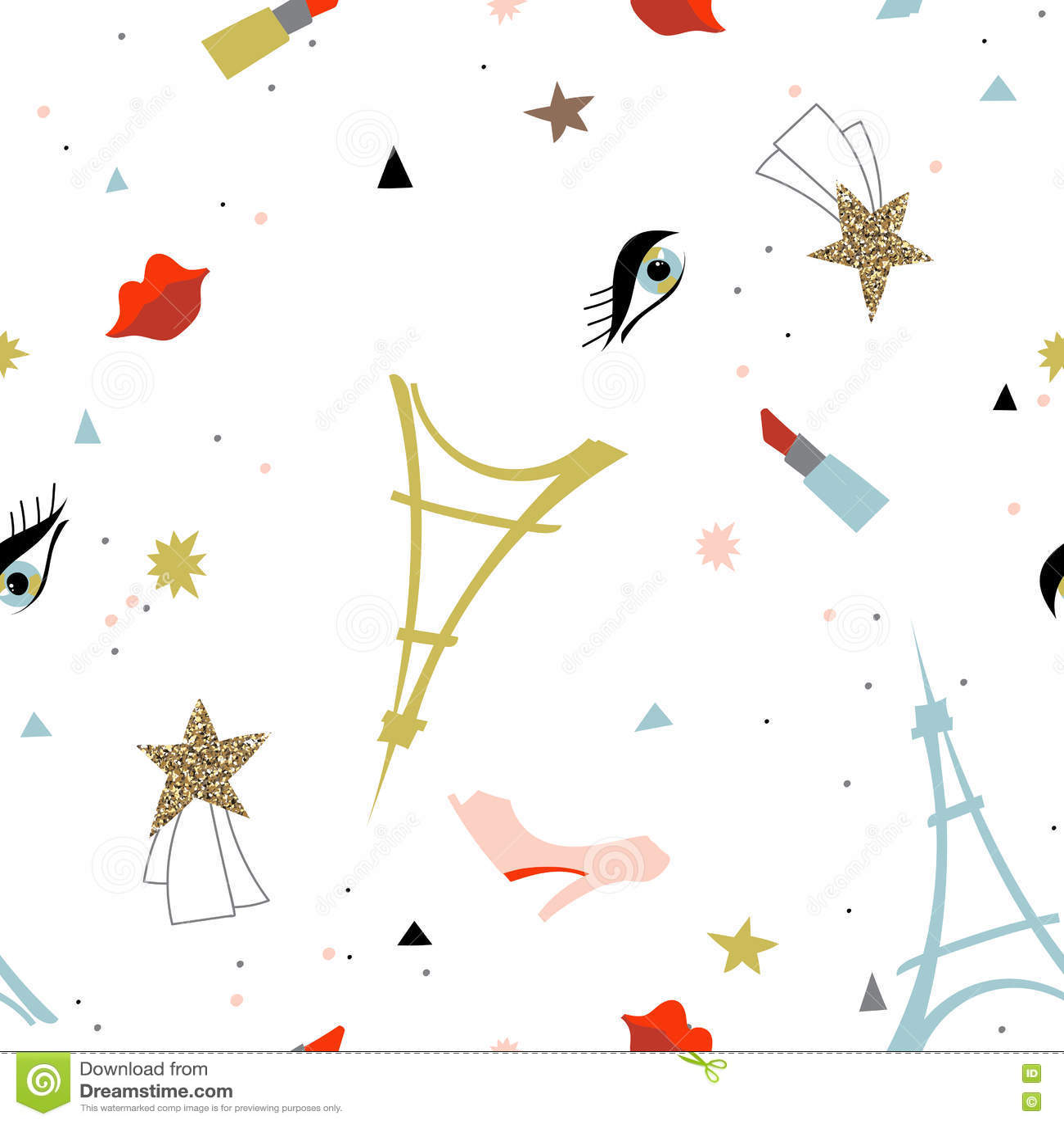Abstract Paris Fashion Seamless Pattern. Stock Illustration ...