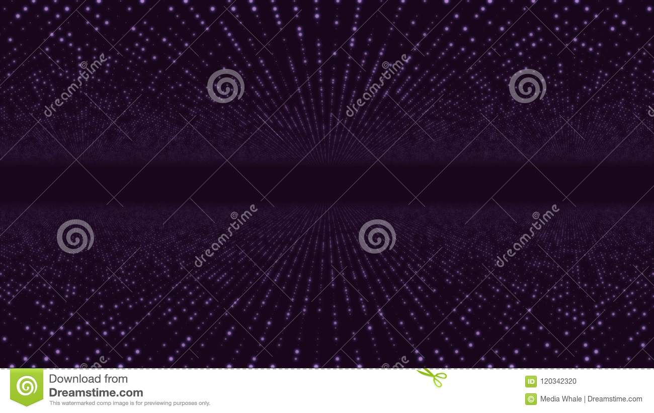 Abstract particle fail in the dark. Random small particles form horizontal abstract lines. Infinite space background