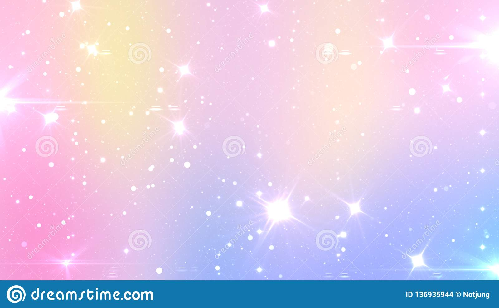 Abstract Pastel Fairy background with rainbow mesh. Kawaii universe banner in princess colors. Fantasy gradient backdrop with