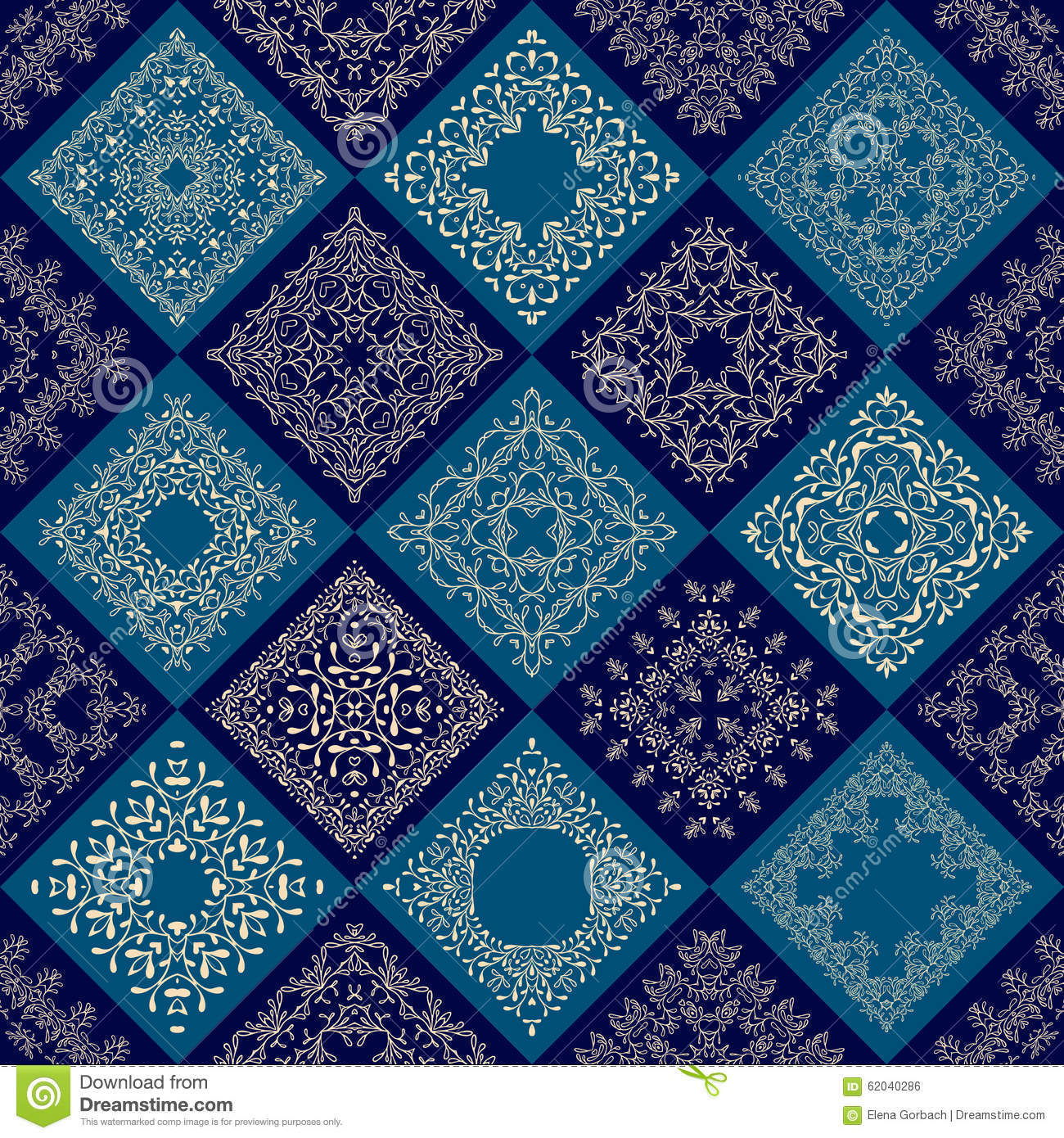 Abstract Patchwork Tiles Seamless Background Stock Vector